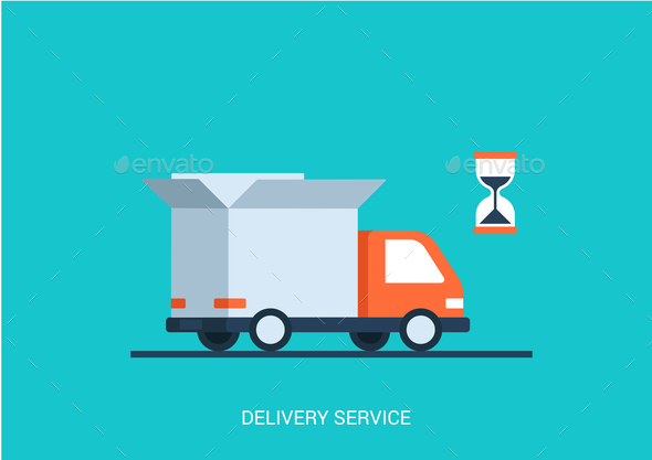Abstract truck with open box container, hourglass - Man-made objects Objects