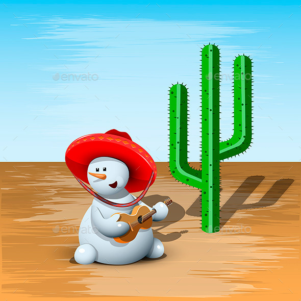 Snowman and Cactus - Christmas Seasons/Holidays