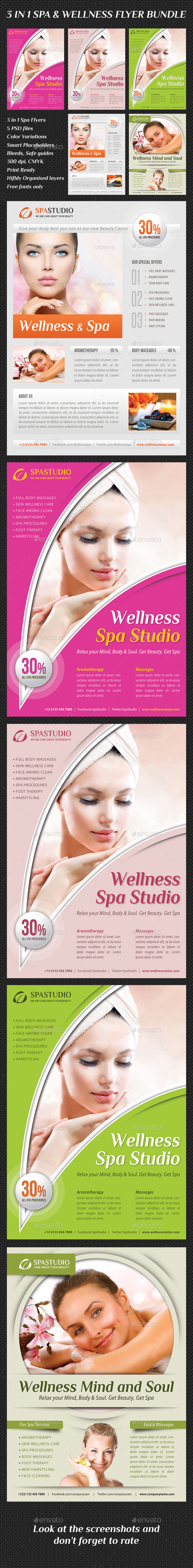 3 in 1 Spa Wellness Flyers Bundle 10 - Commerce Flyers