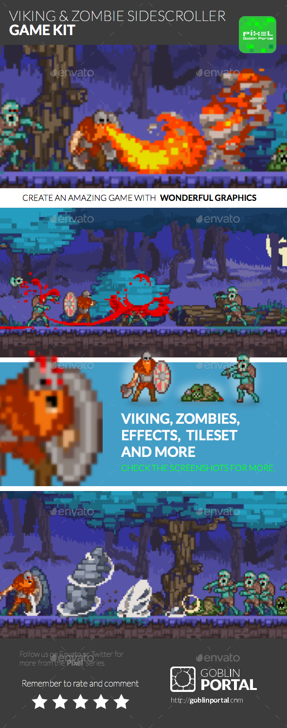 Viking & Zombie Sidescroller - Game Kits Game Assets