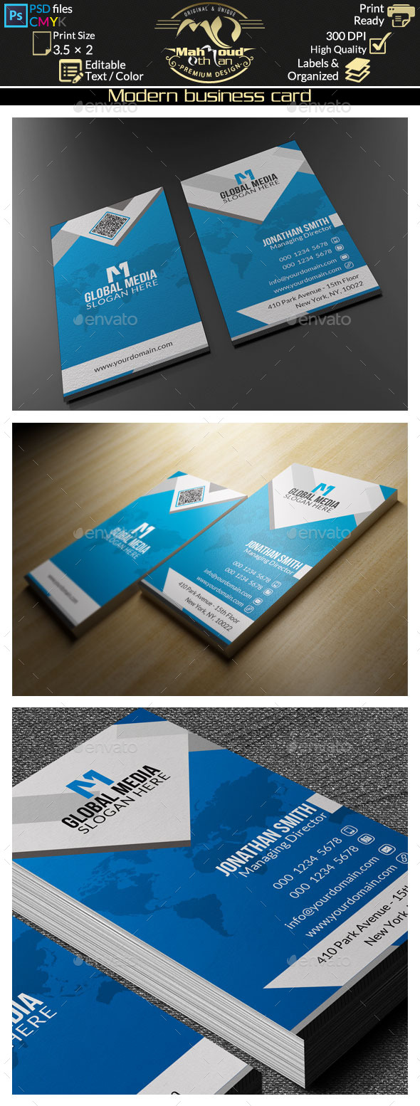 Modern Blue Business Card 60 - Corporate Business Cards