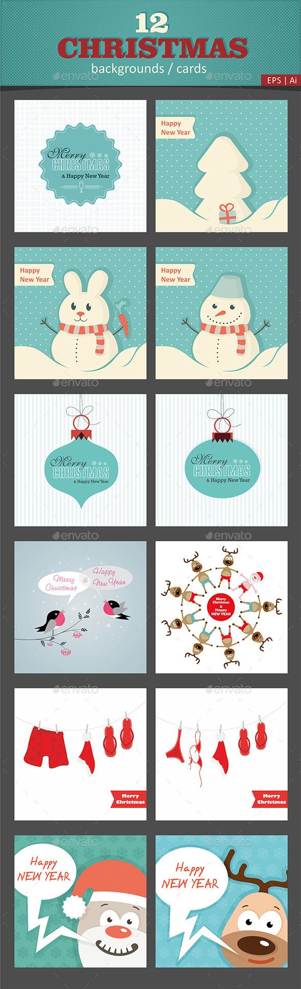 12 Christmas Vector Cards / Backgrounds - Christmas Seasons/Holidays