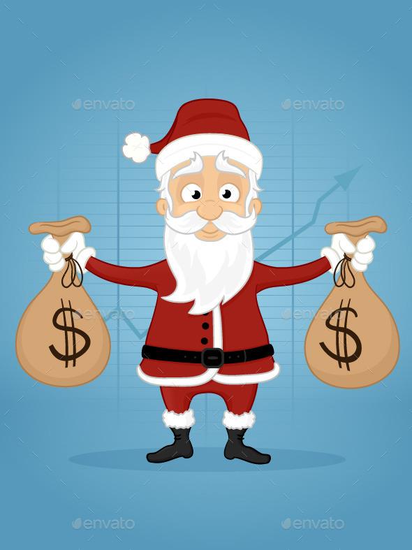 Santa With Money Bags - Christmas Seasons/Holidays