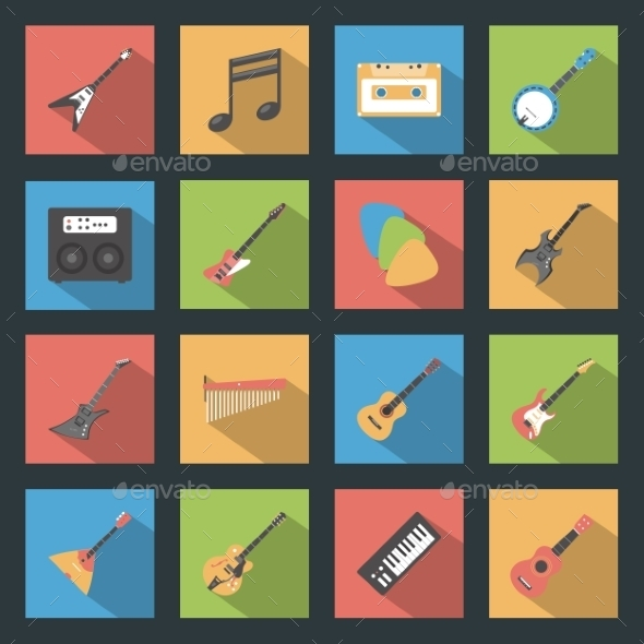 Musical Instruments Icons - Web Elements Vectors