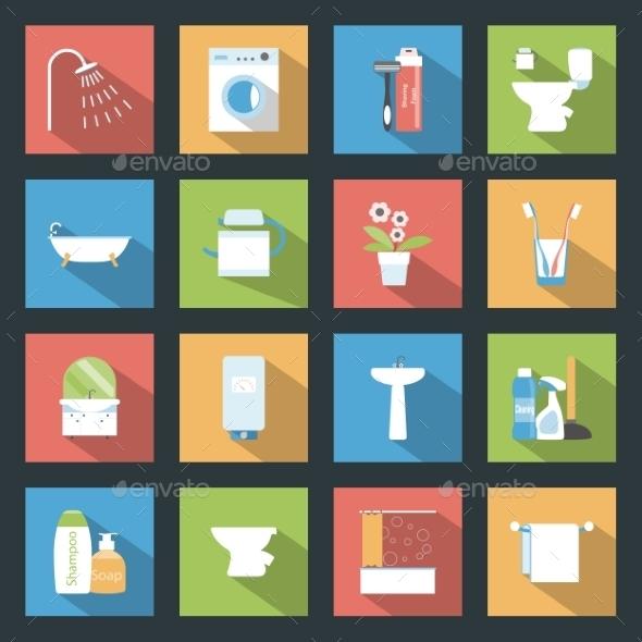 Bathroom Icons - Web Elements Vectors