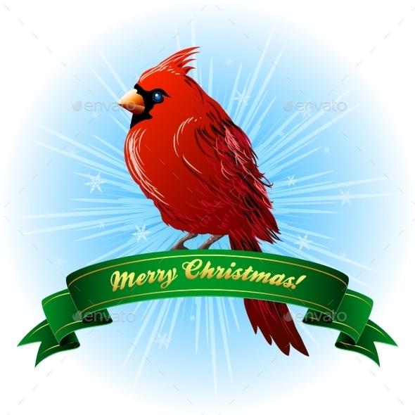Christmas Frame with Northern Cardinal - Christmas Seasons/Holidays