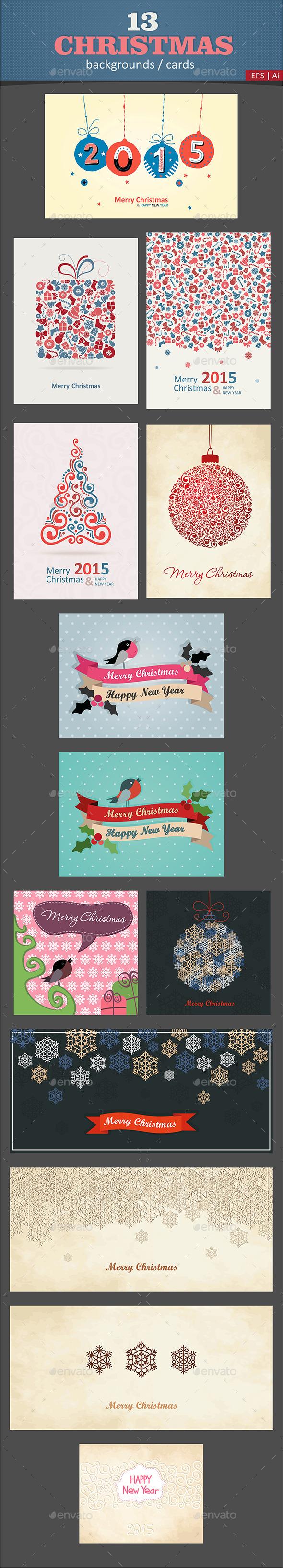 13 Christmas Cards / Backgrounds Vector - Christmas Seasons/Holidays