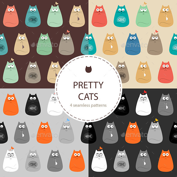 Cats Set of Seamless Patterns - Animals Characters