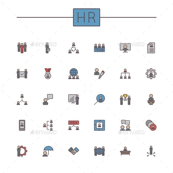 Vector Colored HR Line Icons - Concepts Business