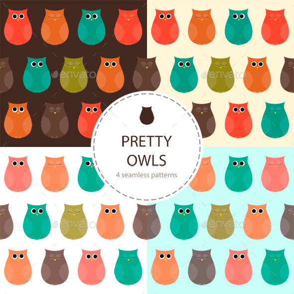Owls Set of Seamless Patterns - Animals Characters