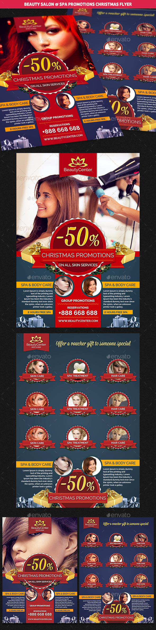 Beauty Center & Spa Christmas Promotions Flyer - Commerce Flyers