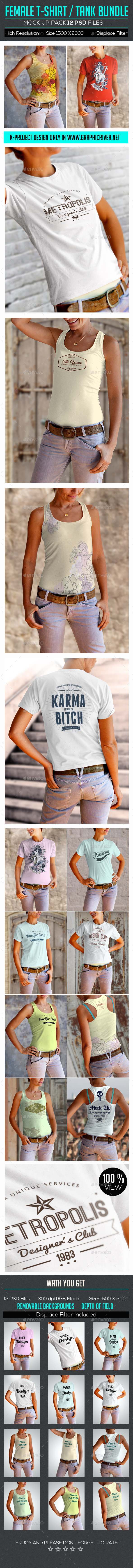 Female T-Shirt Tank Mock Up Bundle - T-shirts Apparel