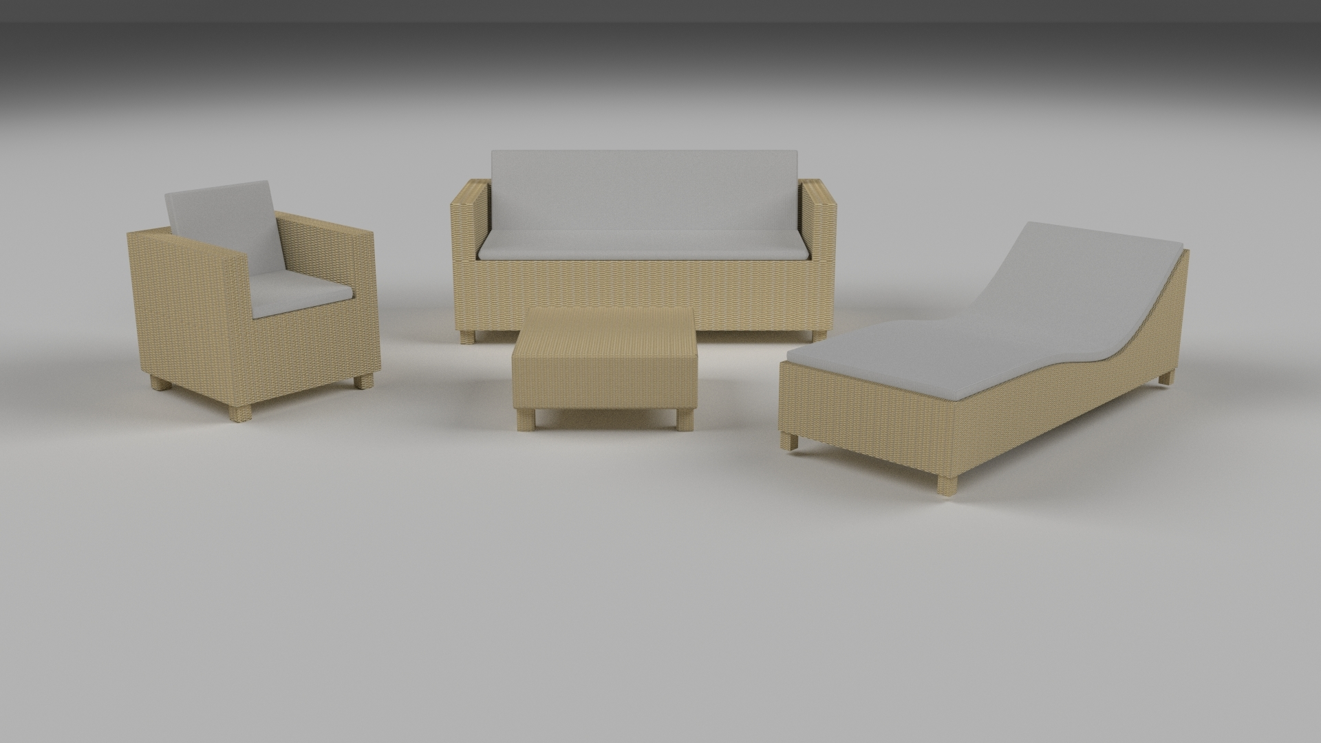 Low Poly Wicker Furniture Pack