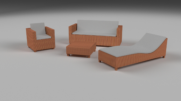 Low Poly Wicker Furniture Pack - 3DOcean Item for Sale