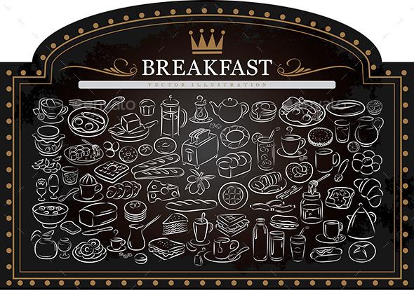 Breakfast on Blackboard - Food Objects