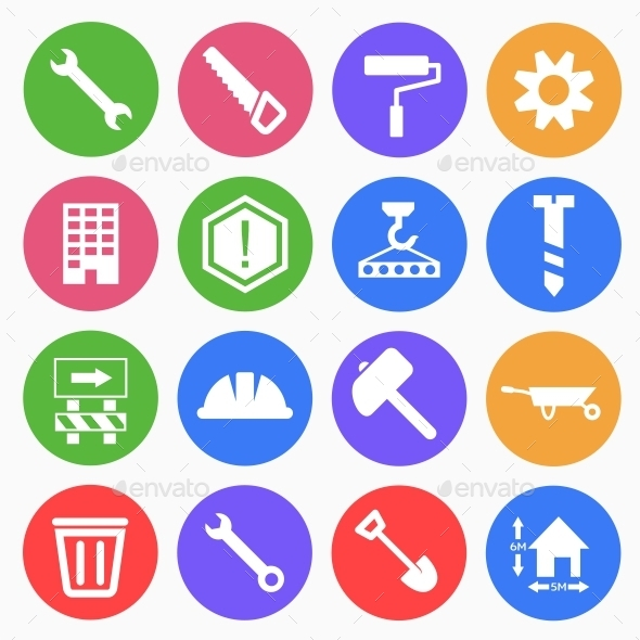 Construction Flat Icons - Web Icons