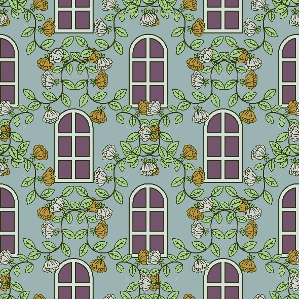 Window and Floral Pattern - Patterns Decorative