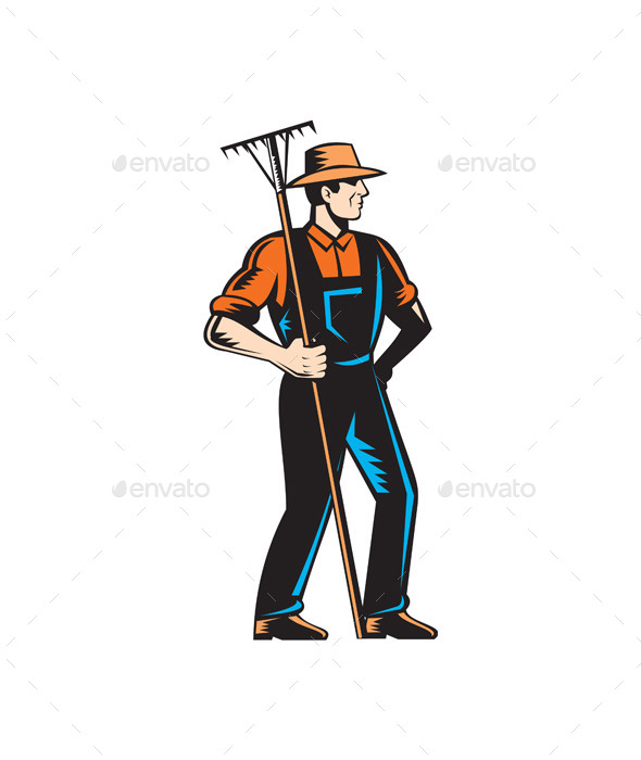 Organic Farmer Standing with Rake - People Characters