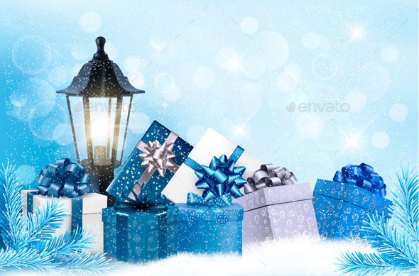 Christmas Background with a Lantern and Presents - Christmas Seasons/Holidays
