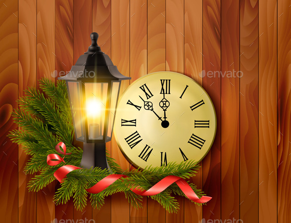 Christmas Background with a Lantern and a Clock - Christmas Seasons/Holidays