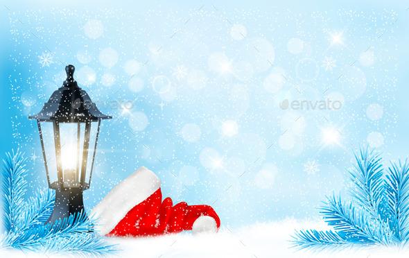 Christmas Background with a Lantern and Santa Hat - Christmas Seasons/Holidays