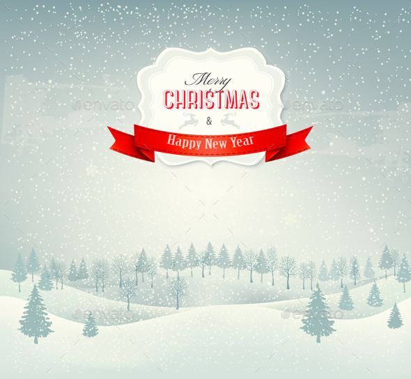 Christmas Winter Landscape Background - Christmas Seasons/Holidays