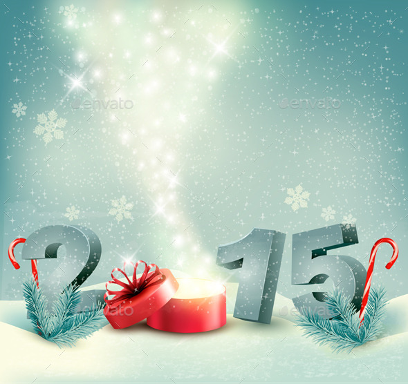 Holiday Background with a Gift Box and 2015 - New Year Seasons/Holidays