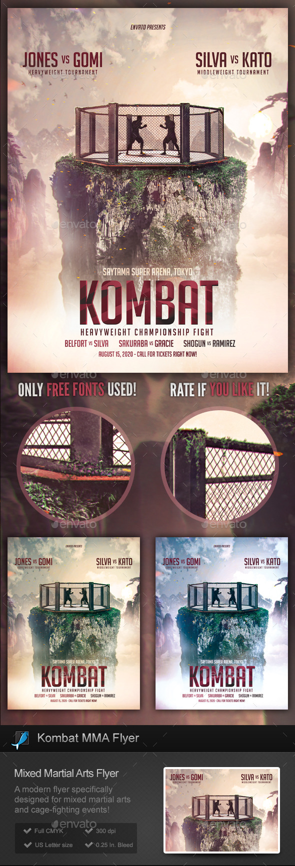 Kombat MMA / Cage Fighting Flyer Template - Sports Events
