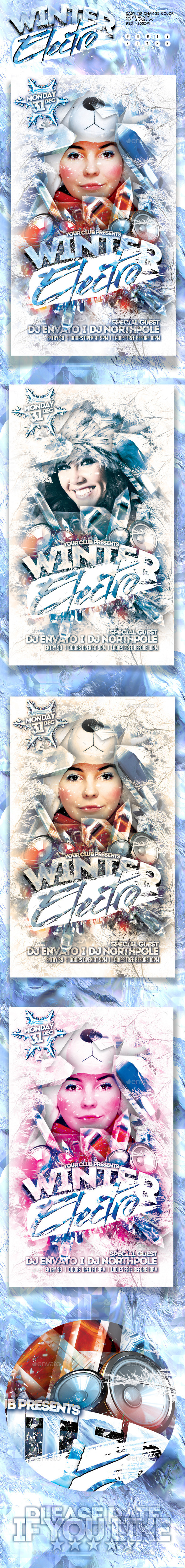 Winter Electro Party Flyer - Holidays Events