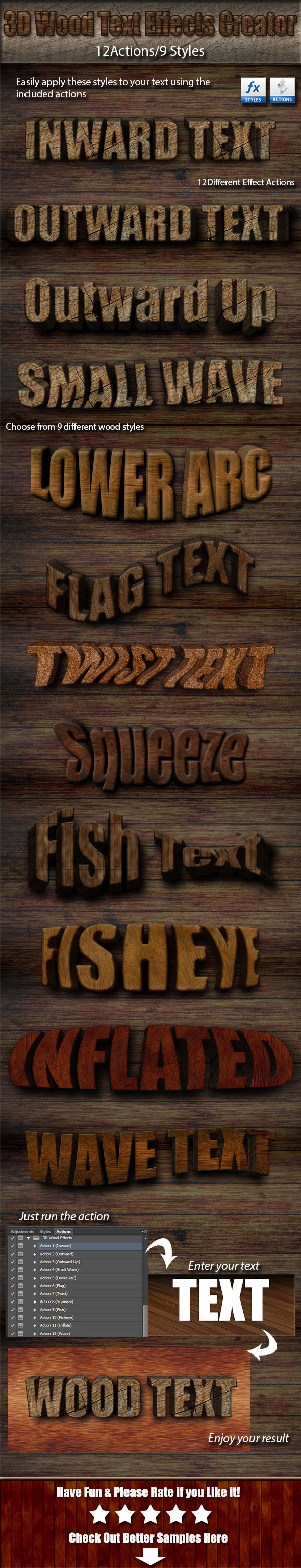 3D Wood Text Effects Creator Kit - Text Effects Actions