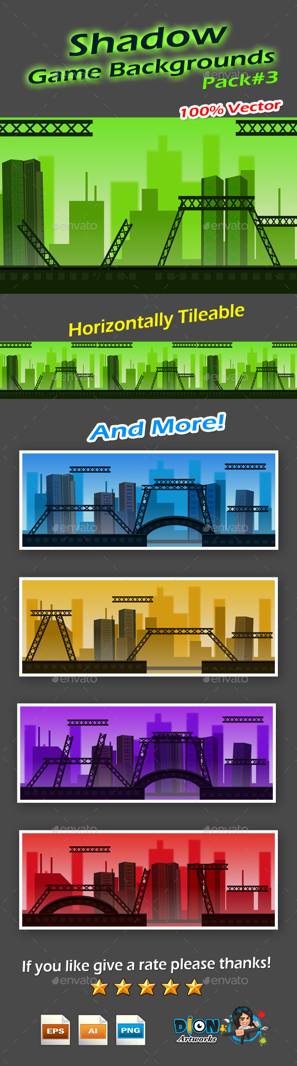 Shadow Game Backgrounds Pack-3 - Backgrounds Game Assets