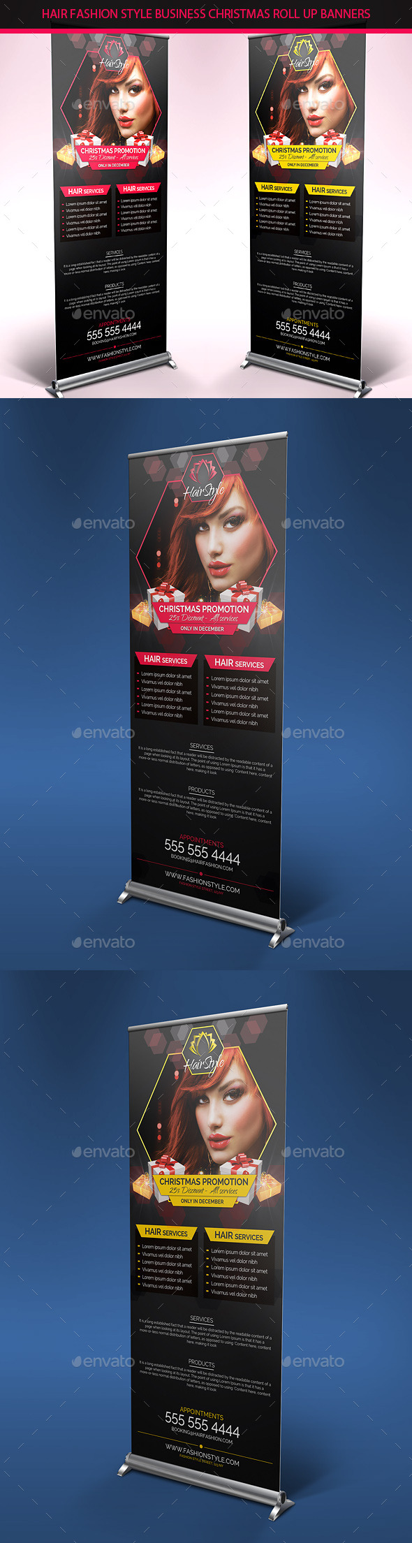 Hair Salon Christmas Promotions Roll Up Banners - Signage Print Templates