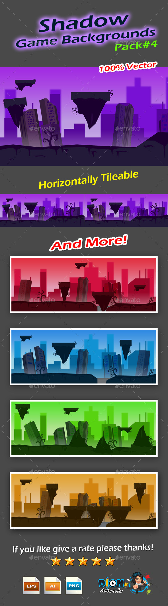 Shadow Game Backgrounds Pack-4 - Backgrounds Game Assets