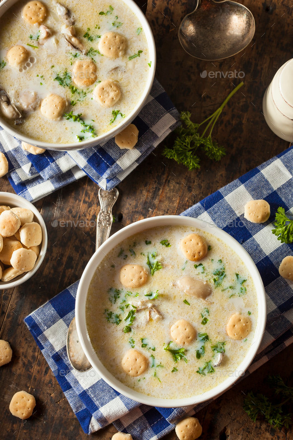 Homemade Oyster Stew with Parsley - Stock Photo - Images