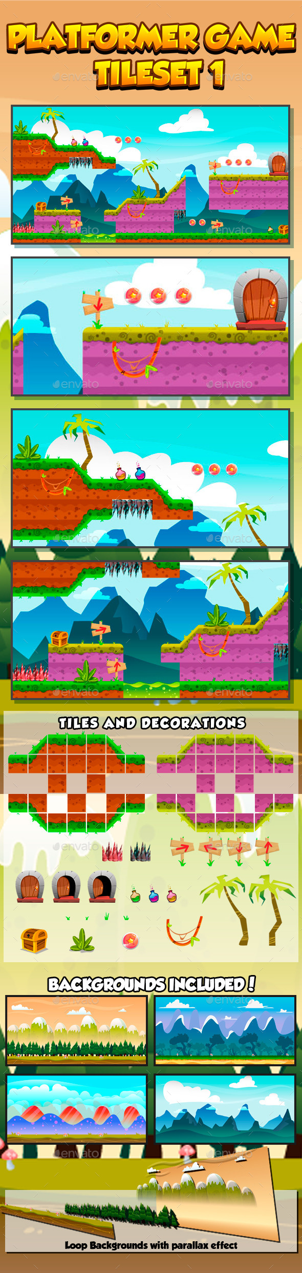 Platformer Game Tile set Collection Series 1 - Tilesets Game Assets