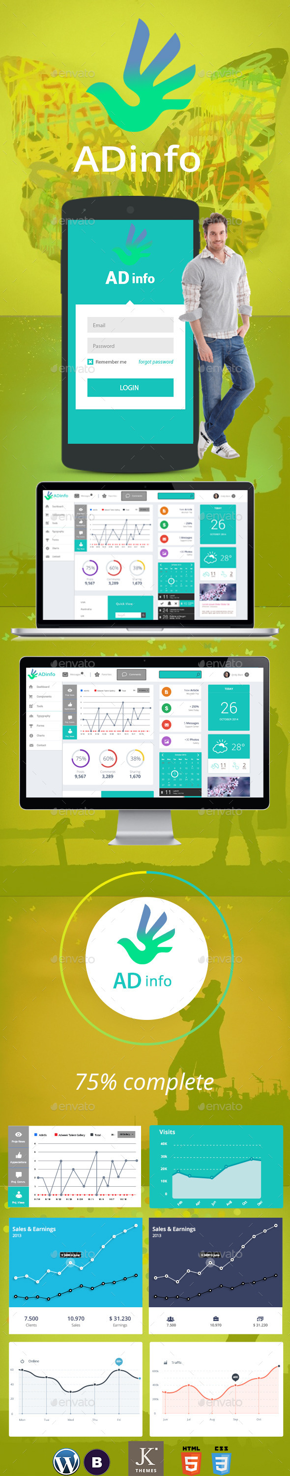 ADinfo Dashboard Admin Template PSD - User Interfaces Web Elements