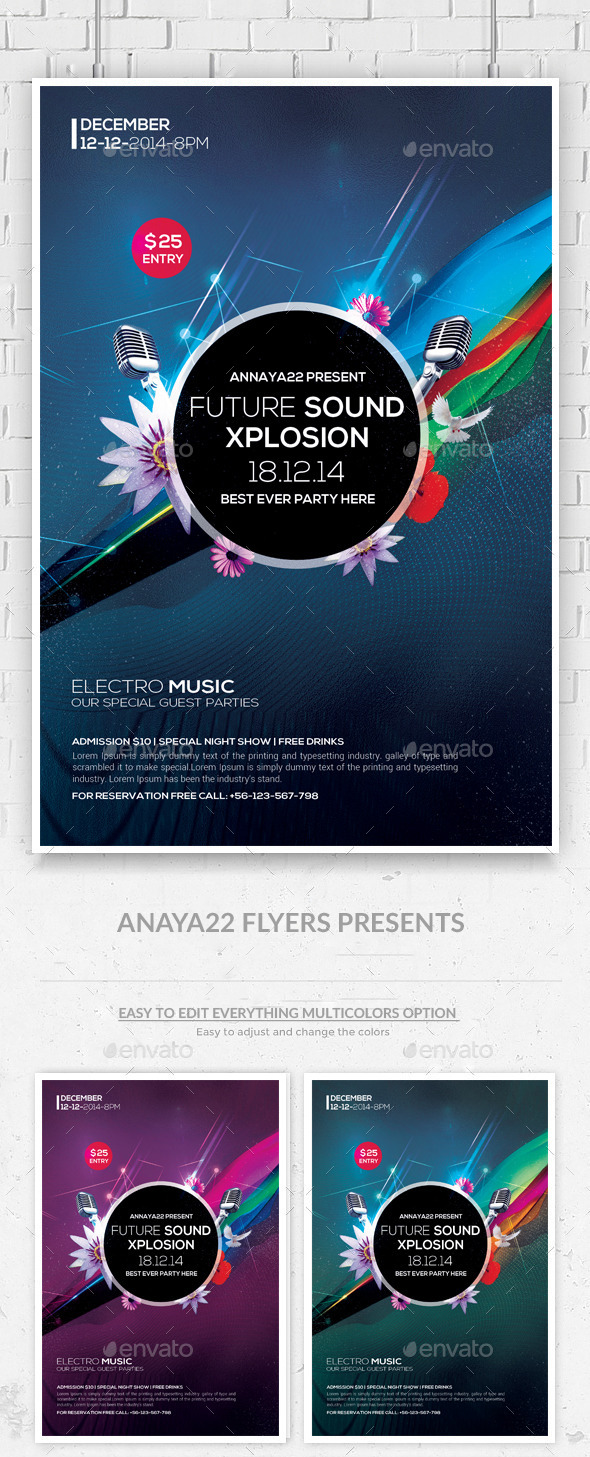 Electro House Futuristic Party Flyer Templates - Clubs & Parties Events