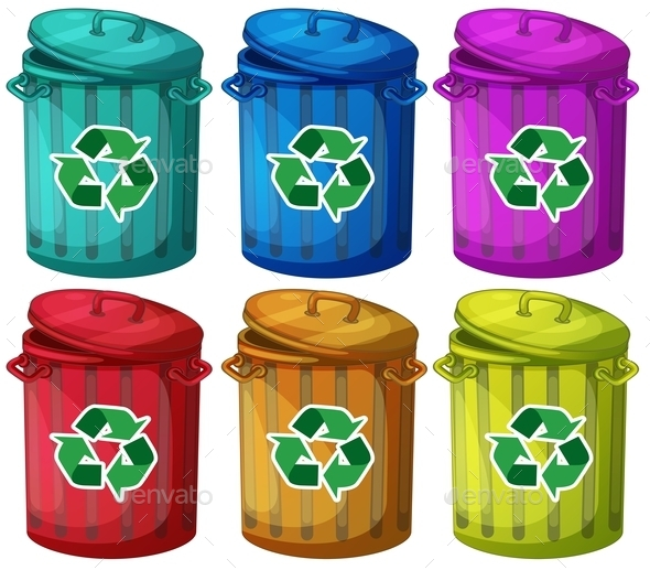 Six Trashcans for Recyclable Garbages - Man-made Objects Objects