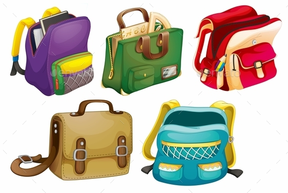 School Bags - Man-made Objects Objects