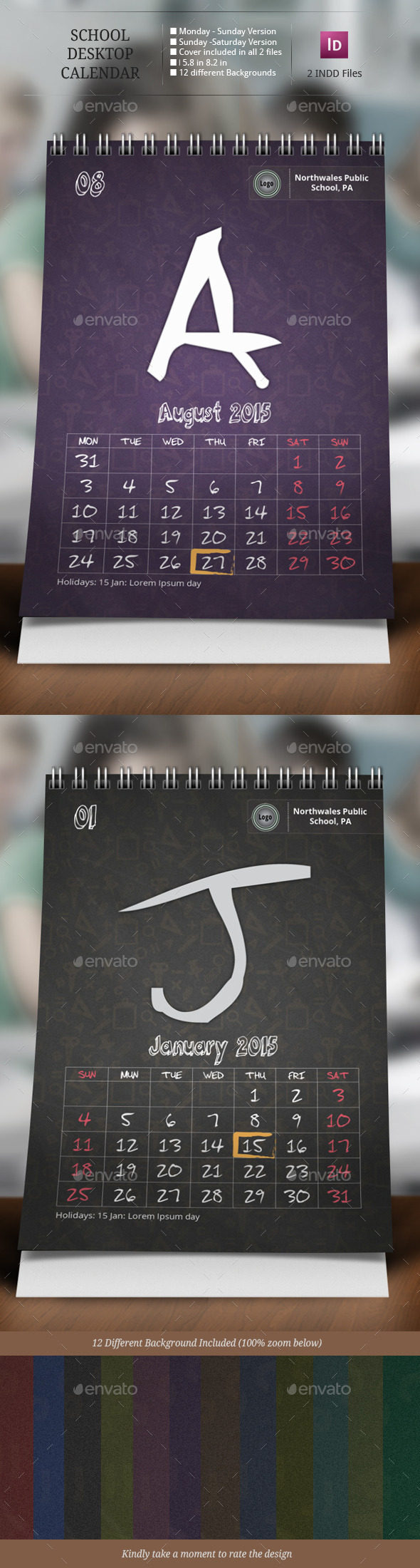 School Desk Calendar Templates - Calendars Stationery