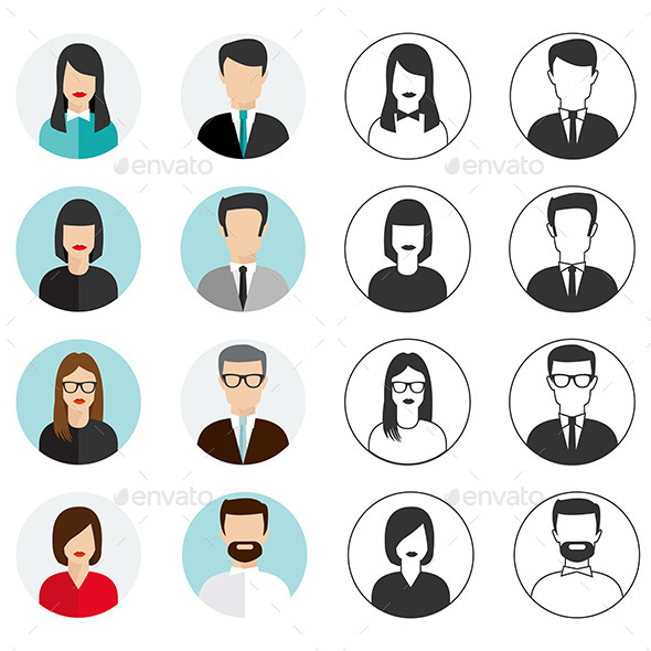 People Icons Set - People Characters