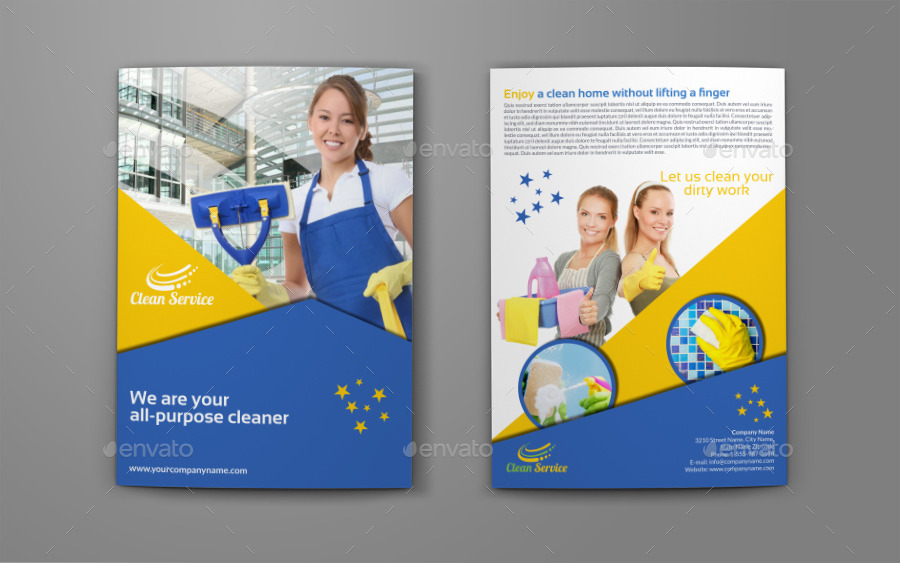 Cleaning services company bi fold brochure by owpictures for Cleaning service brochure templates