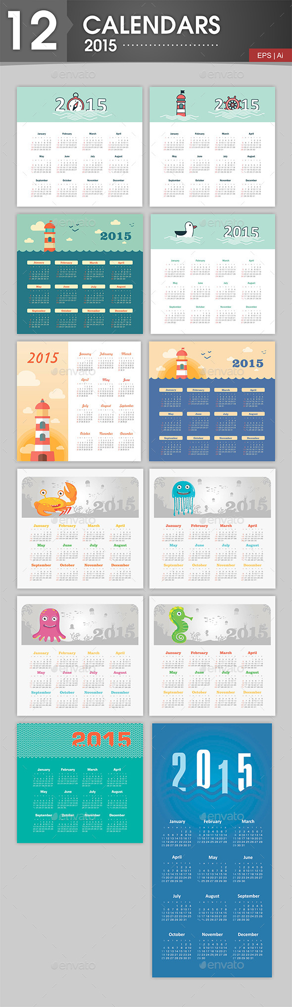 12 Calendars 2015 Marine Theme - Miscellaneous Vectors