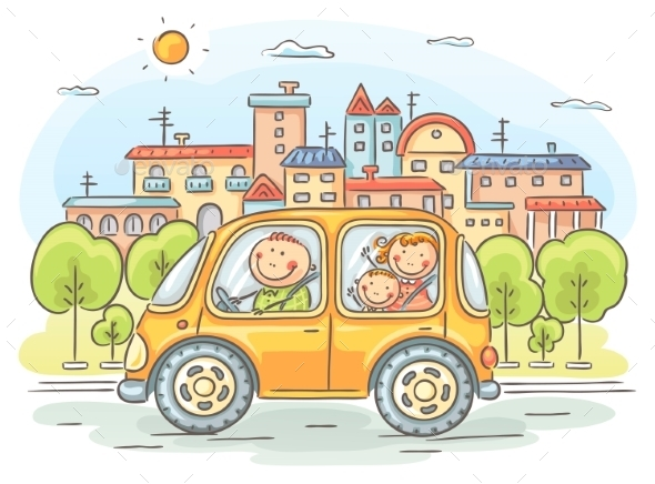 Happy Family Travelling by Car - Travel Conceptual