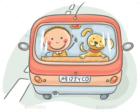 Child and Dog in the Car - Travel Conceptual