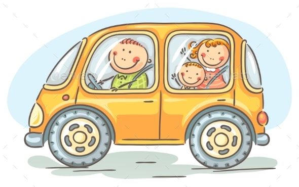 Family Travelling by Car - Travel Conceptual