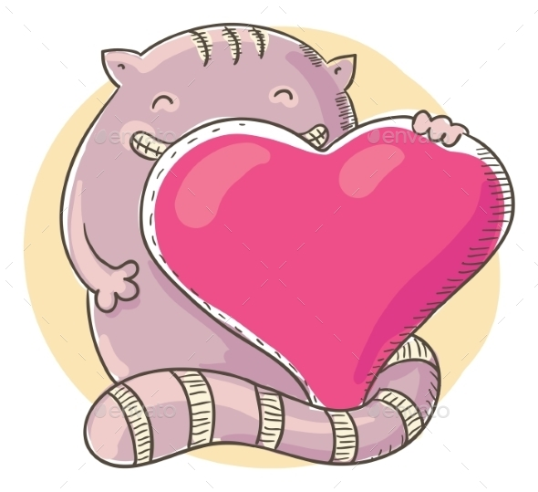 Cat Holding a Big Heart - Animals Characters