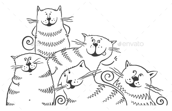 Black and White Cats - Animals Characters
