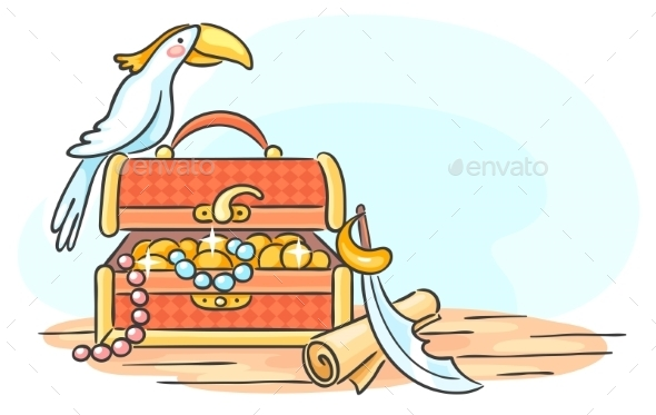 Treasure Chest and a Parrot - Animals Characters