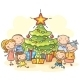 Family with a Christmas Tree and Presents - GraphicRiver Item for Sale